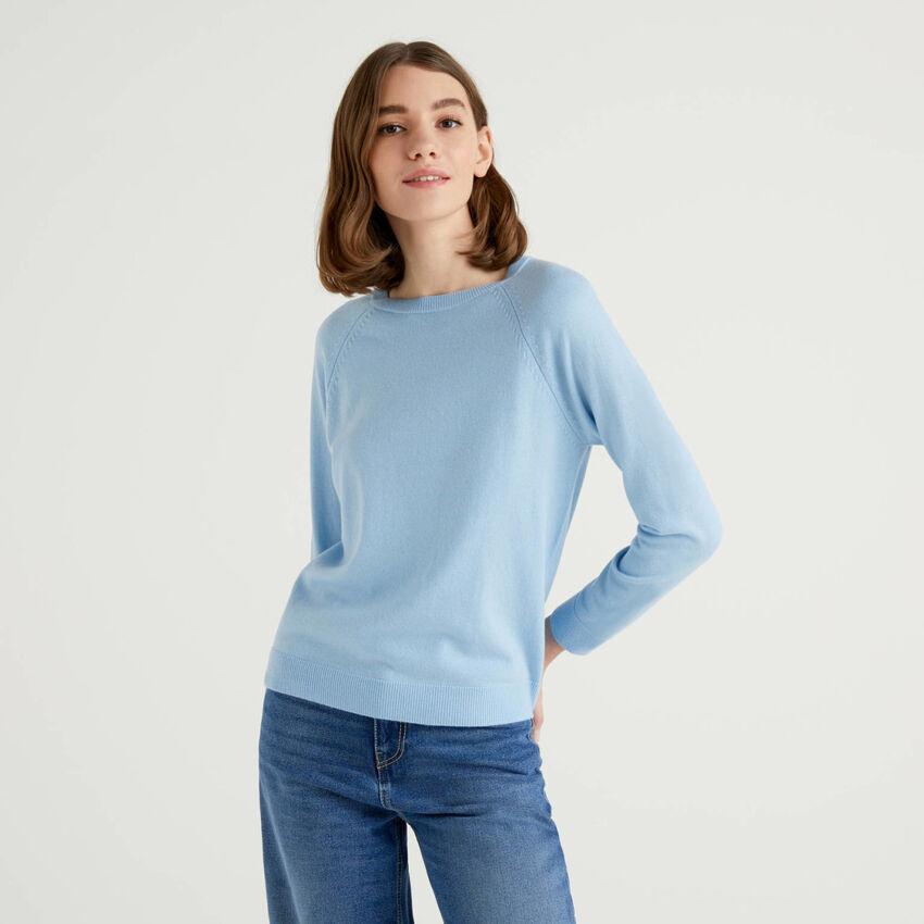 Camisola de gola redonda azul-celeste em mescla de lã e caxemira