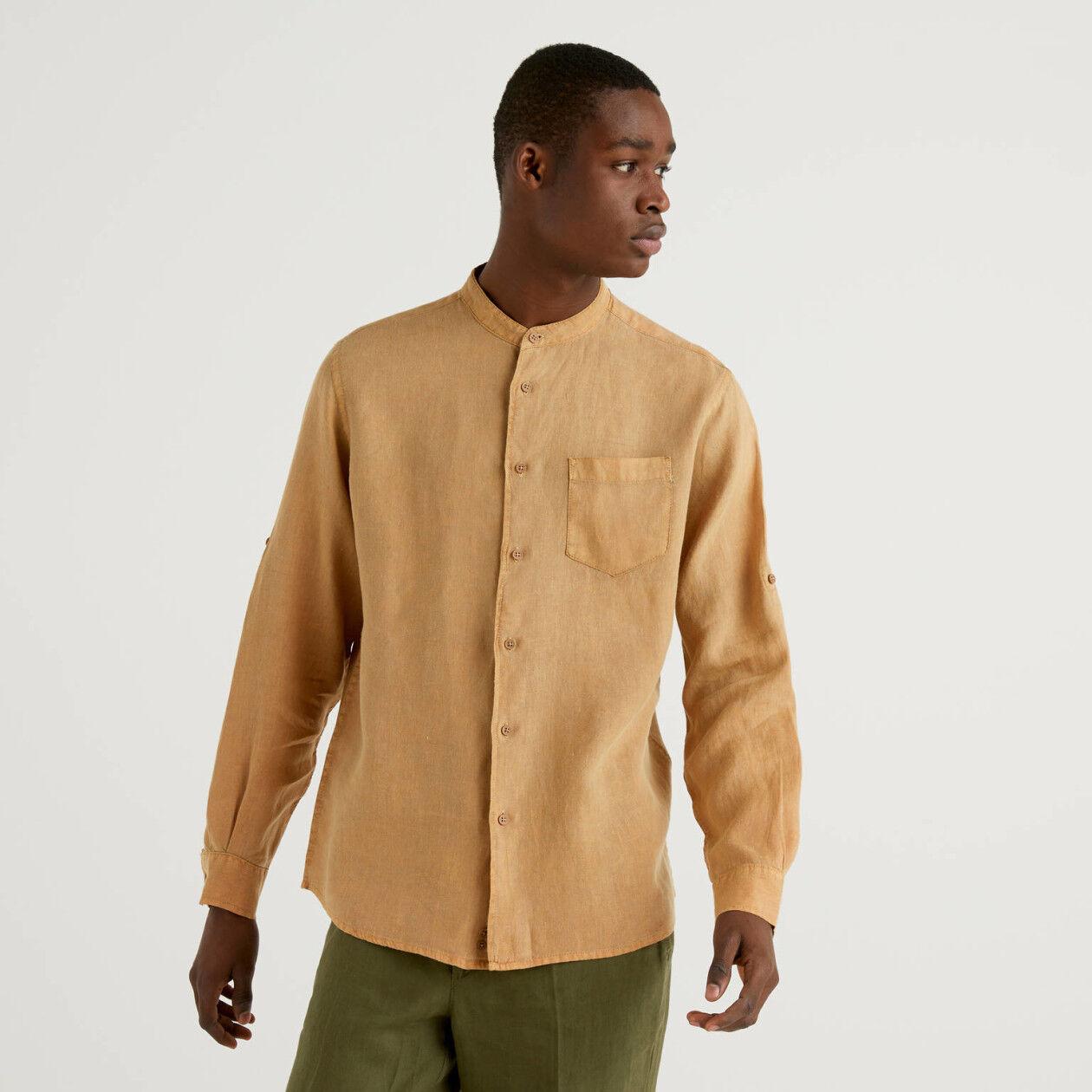 Camisa gola coreana 100% linho