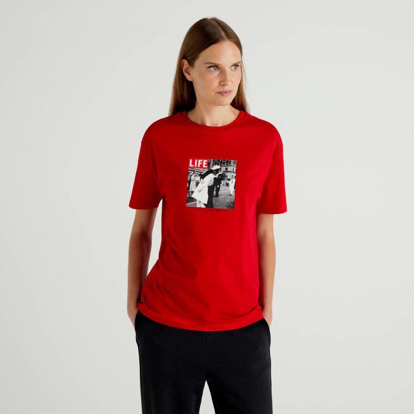 T-shirt Life boxy em 100% algodão orgânico