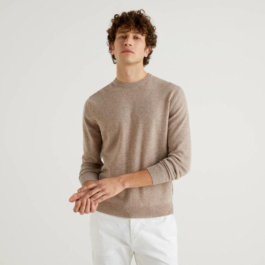 Camisola de gola redonda tortora em pura lã virgem