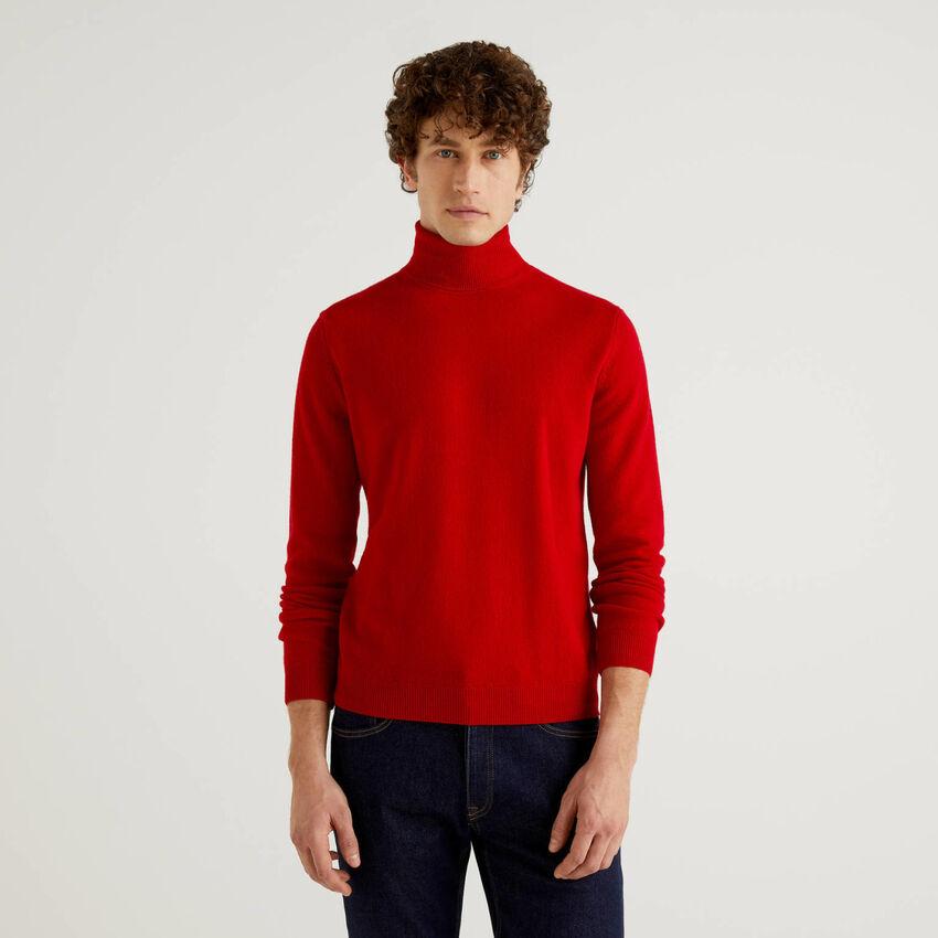 Camisola de gola alta vermelha em pura lã virgem
