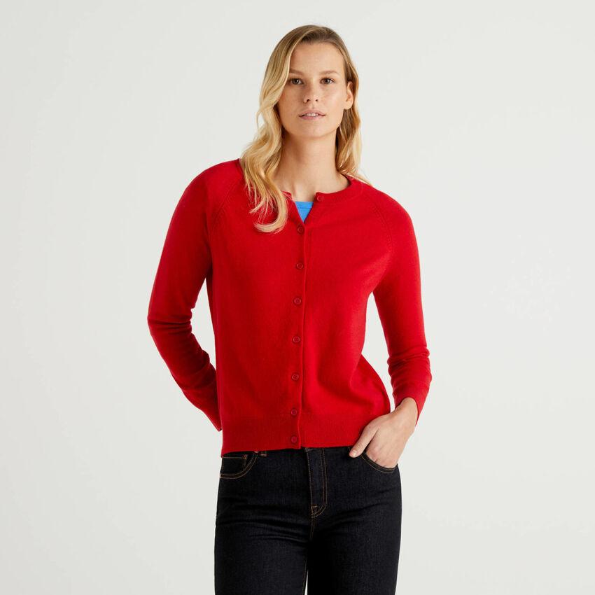 Cardigã de gola redonda vermelho em mescla de lã e caxemira