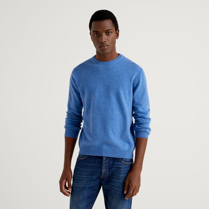 Camisola de gola redonda azul-claro em pura lã virgem