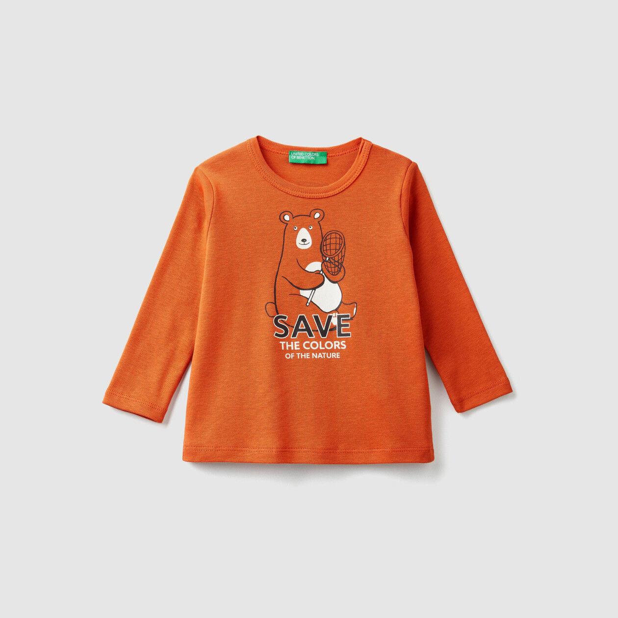 T-shirt canelada com estampa