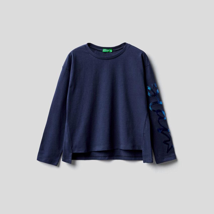 T-shirt de manga comprida em 100% algodão