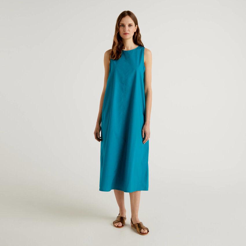 Vestido comprido sem mangas em 100% algodão