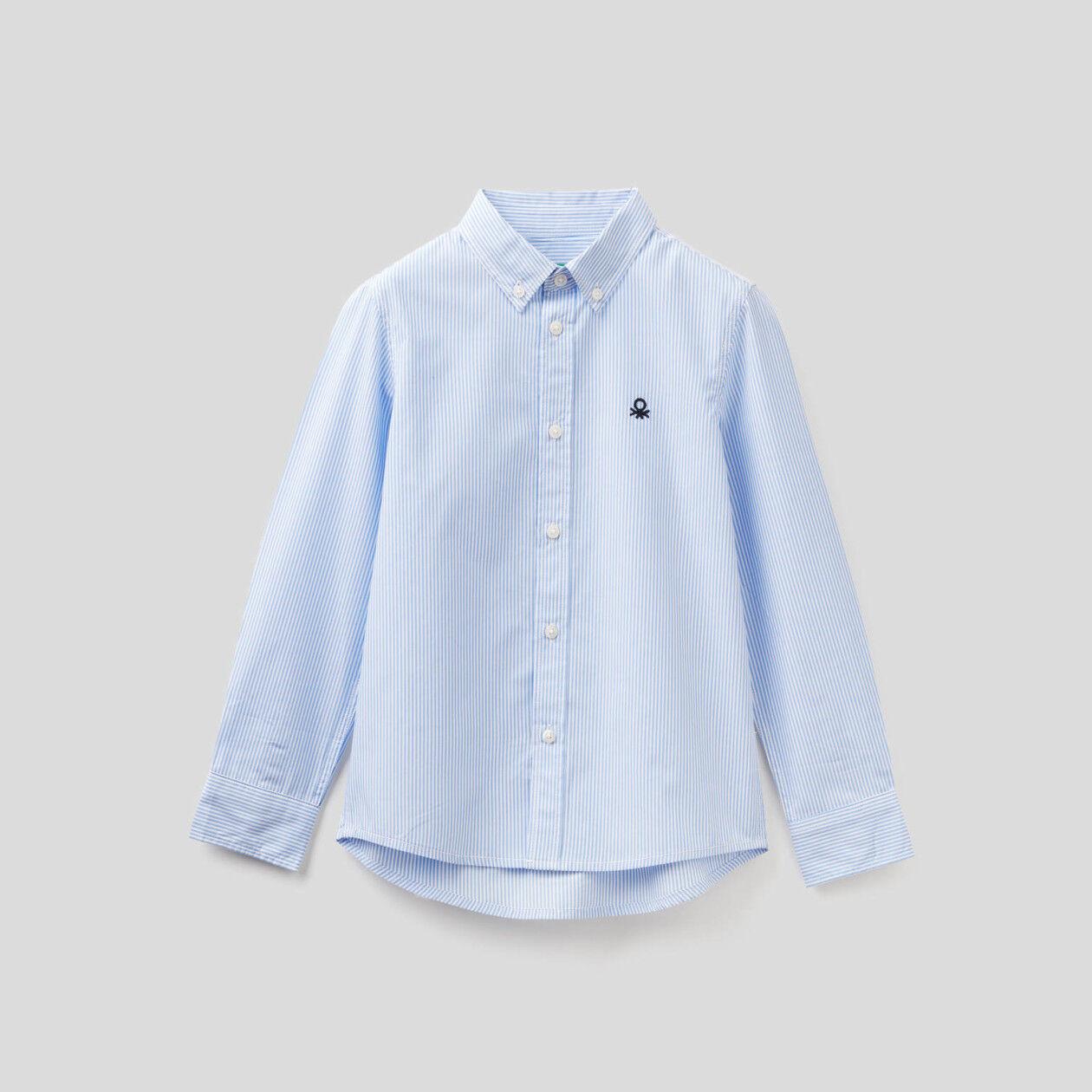 Camisa desportiva às riscas em algodão puro