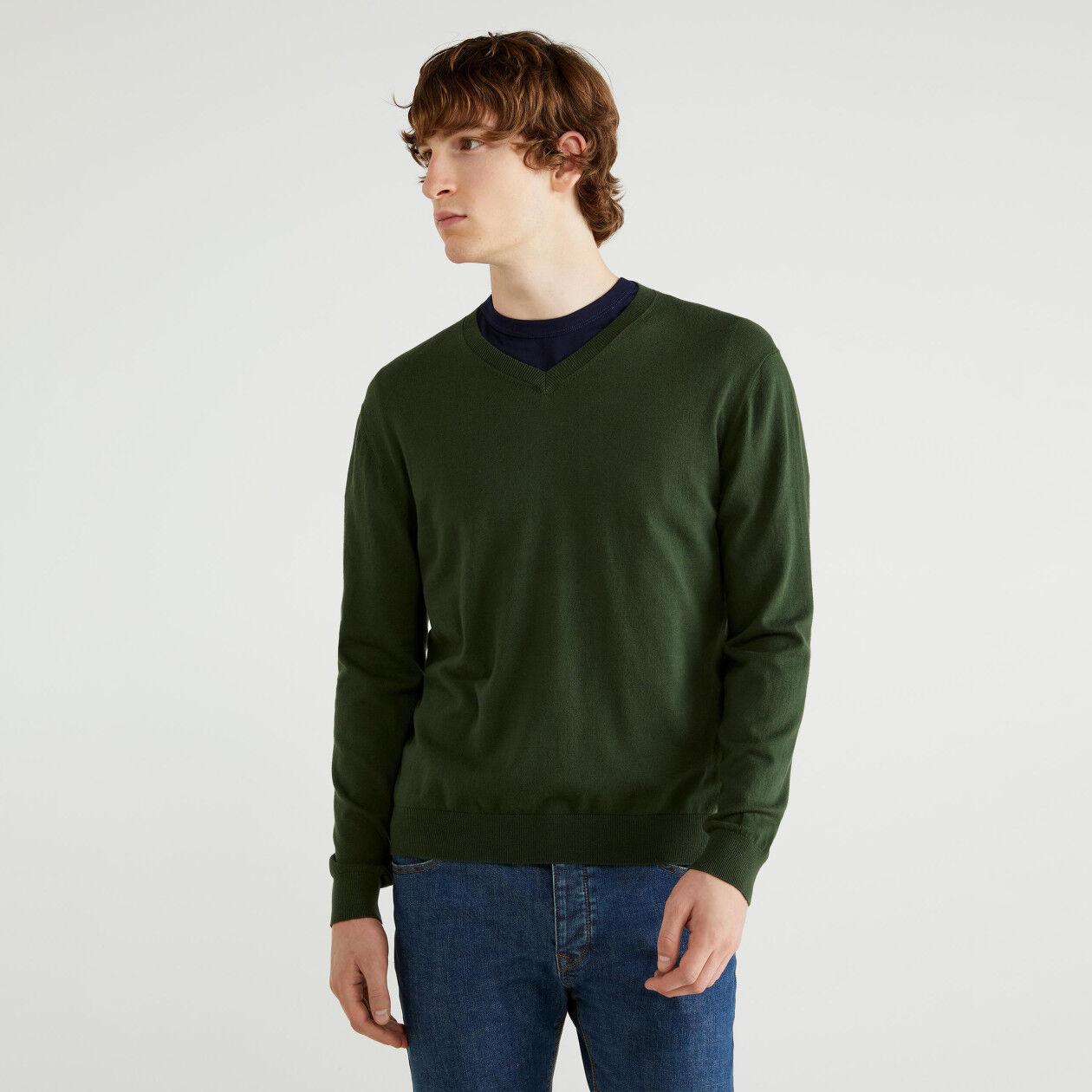 Camisola decote em V em algodão tricot