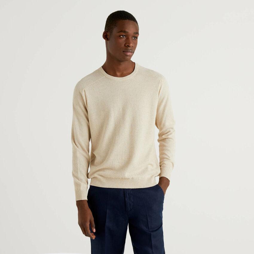 Camisola em mescla de algodão e linho
