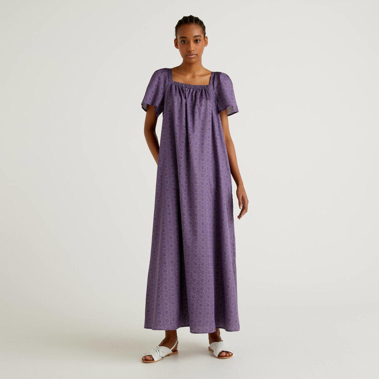Vestido comprido em algodão estampado
