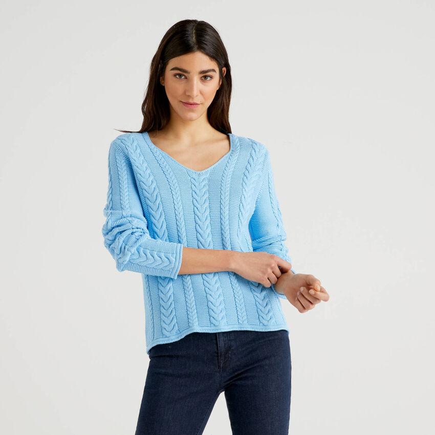 Camisola com tranças em algodão puro