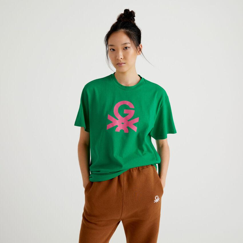 T-shirt unissexo verde com logótipo by Ghali