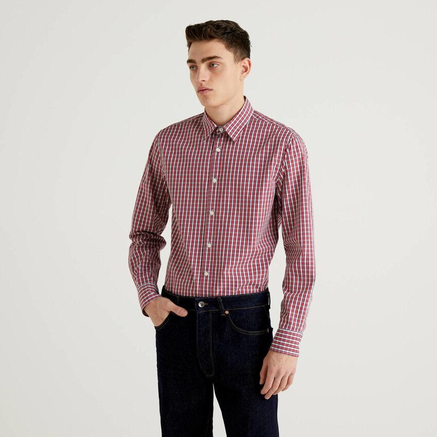 Camisa slim fit em algodão fio tinto