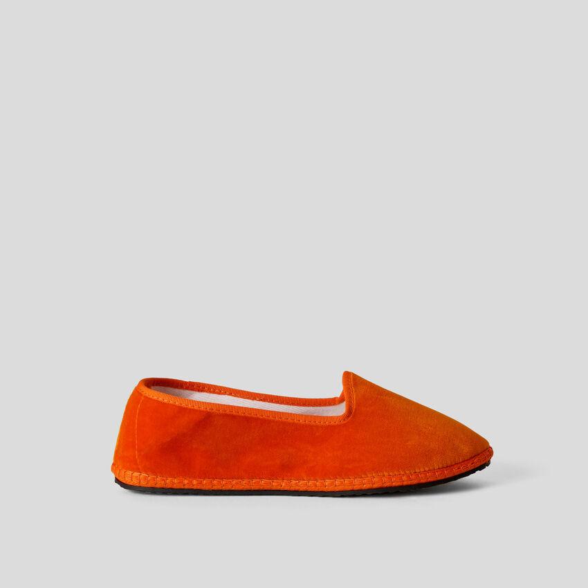 Sapatos Friulane laranja de veludo