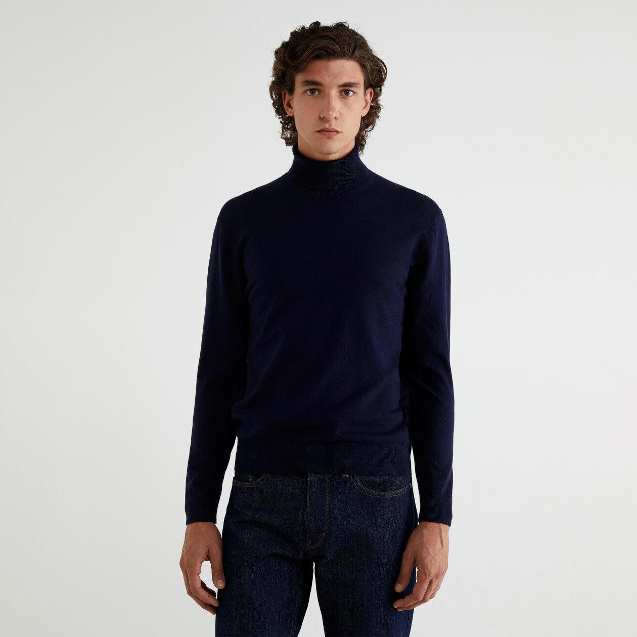 Camisola gola alta em algodão tricot