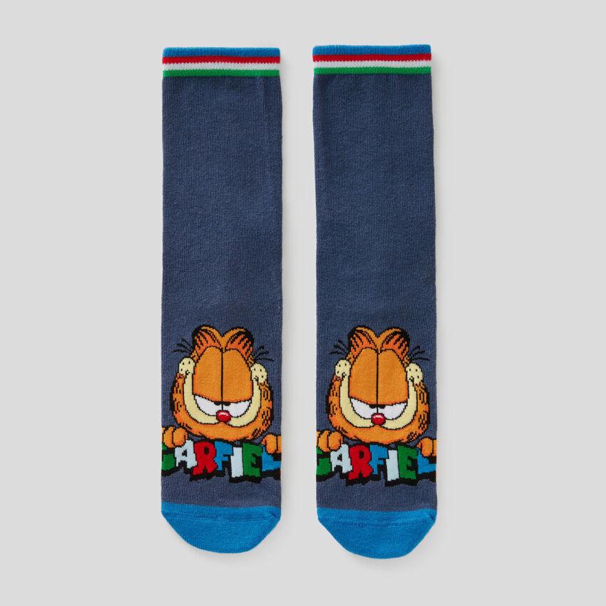 Meias azuis com gráfica Garfield