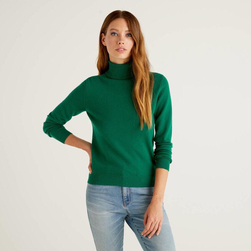 Camisola de gola alta verde-escuro em pura lã virgem