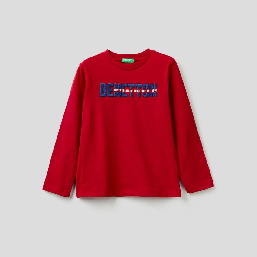 T-shirt de manga comprida em 100% algodão orgânico