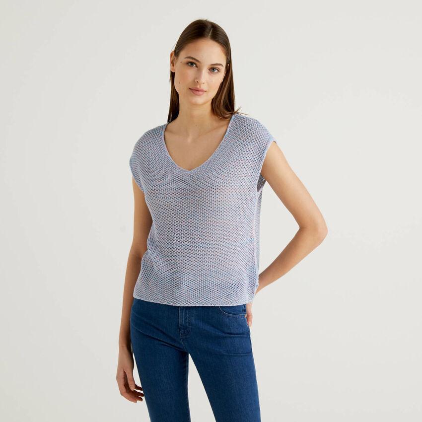 Camisola trabalhada em rede 100% algodão