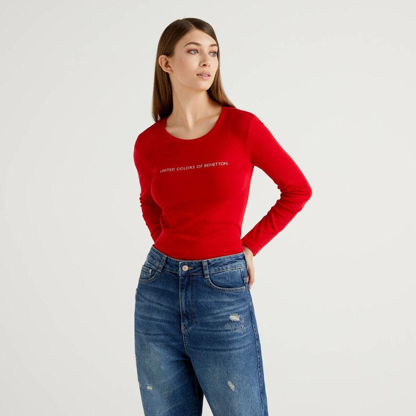 T-shirt vermelha de manga comprida 100% algodão