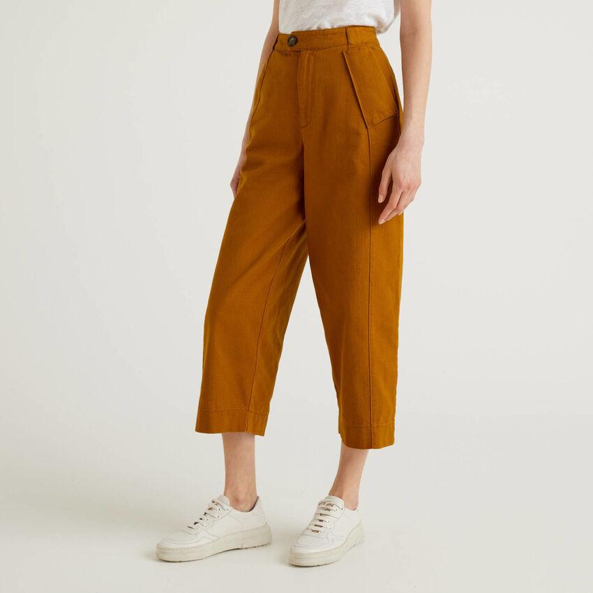 Calças de perna ampla em algodão puro