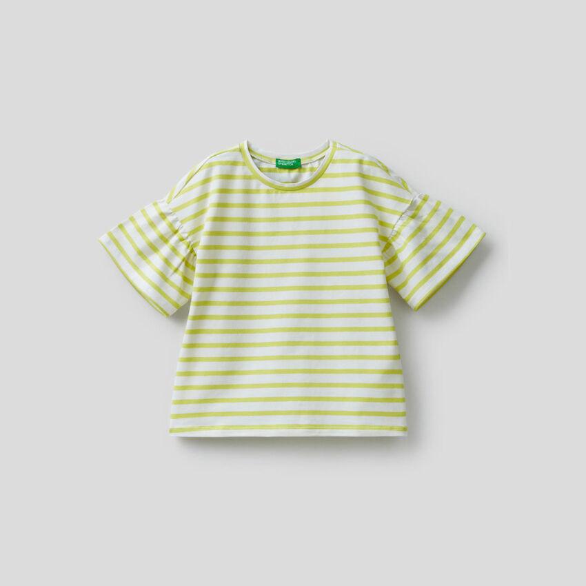 T-shirt às riscas fio tinto