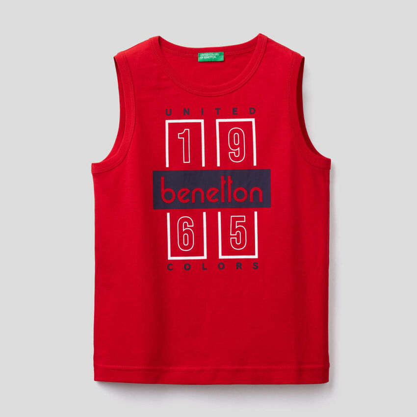 T-shirt sem mangas com estampa logótipo