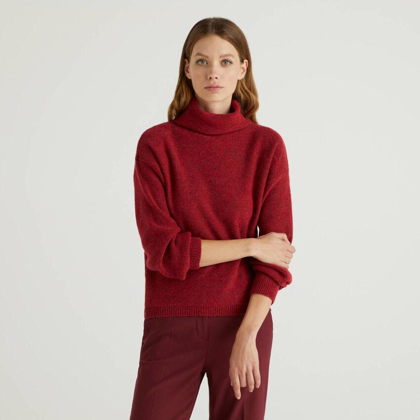 Camisola de gola alta em mescla de lã