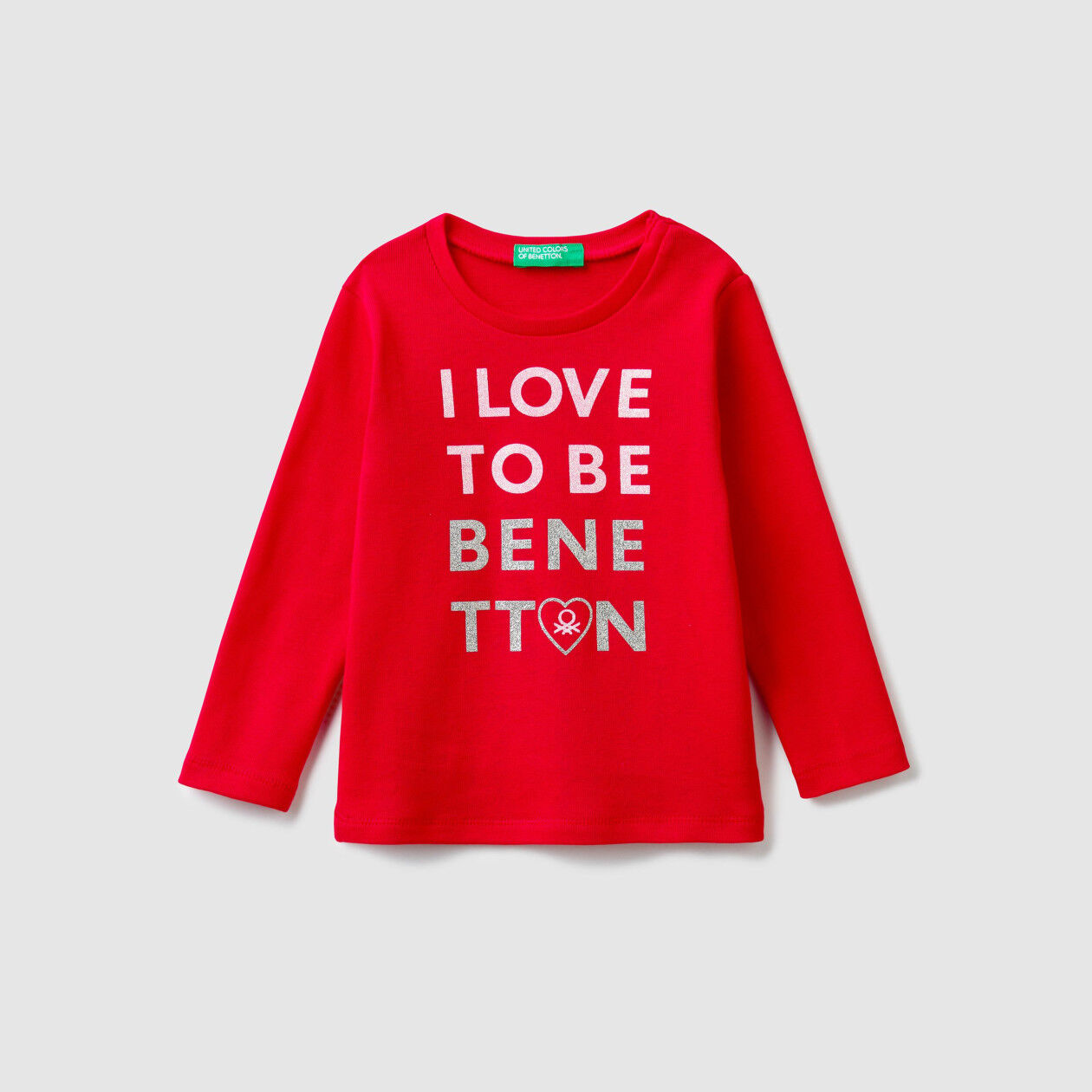 T-shirt canelada com logótipo glitter