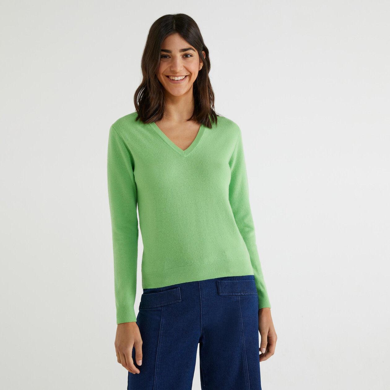Camisola decote em V 100% lã virgem