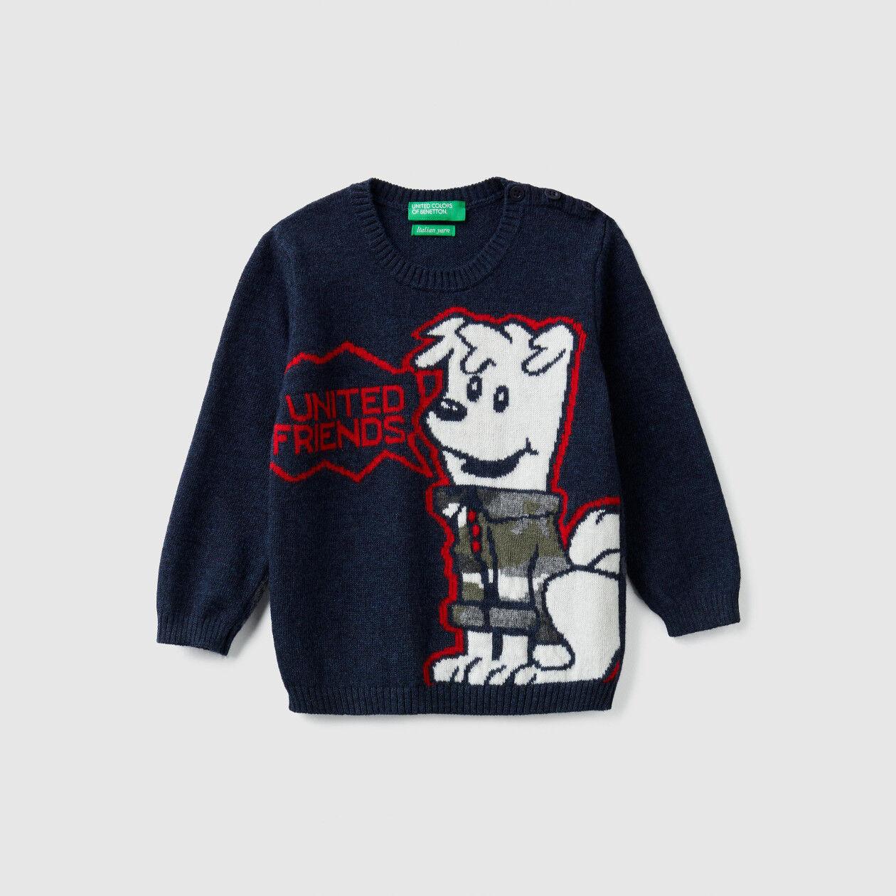 Camisola tricot com intársia