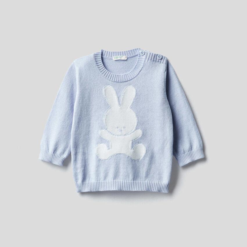 Camisola em 100% algodão com intársia