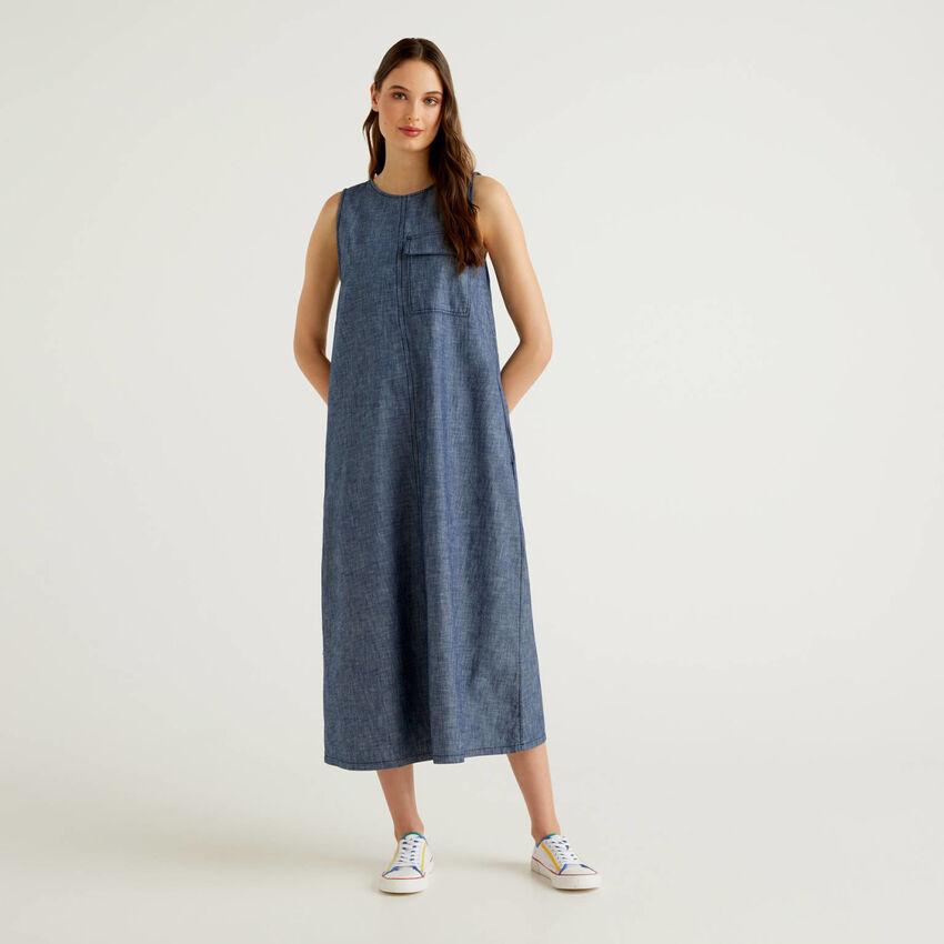Maxi vestido sem mangas efeito jeans