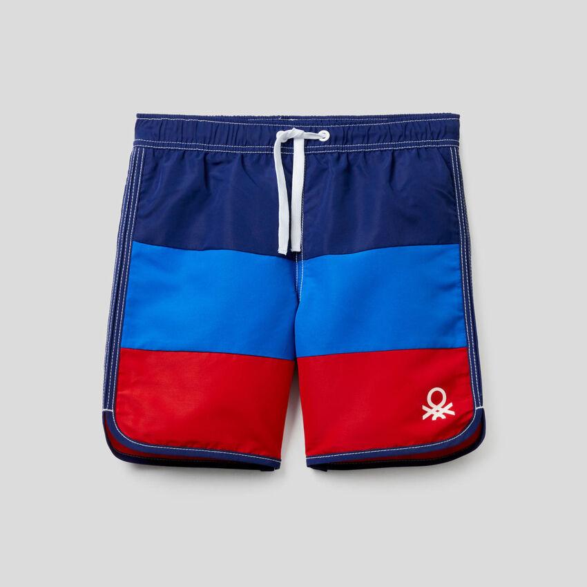 Boxers de banho color block