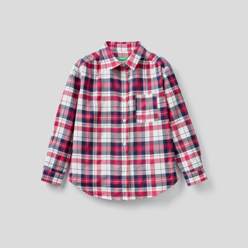 Camisa aos quadrados em algodão misto