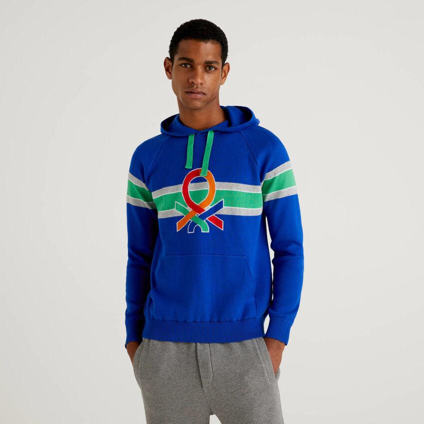 Camisola com capuz e logótipo multicolor