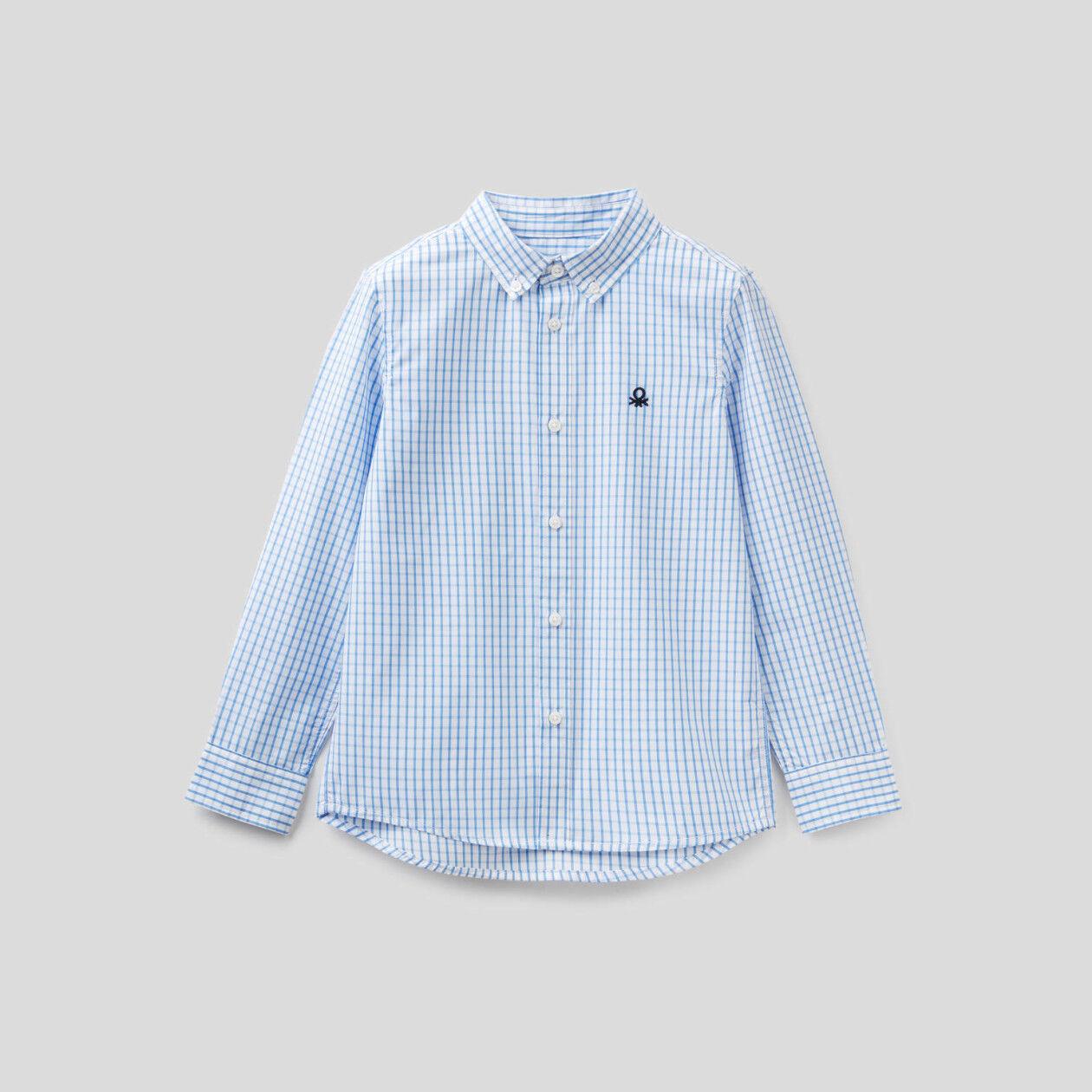 Camisa desportiva aos quadrados em algodão puro