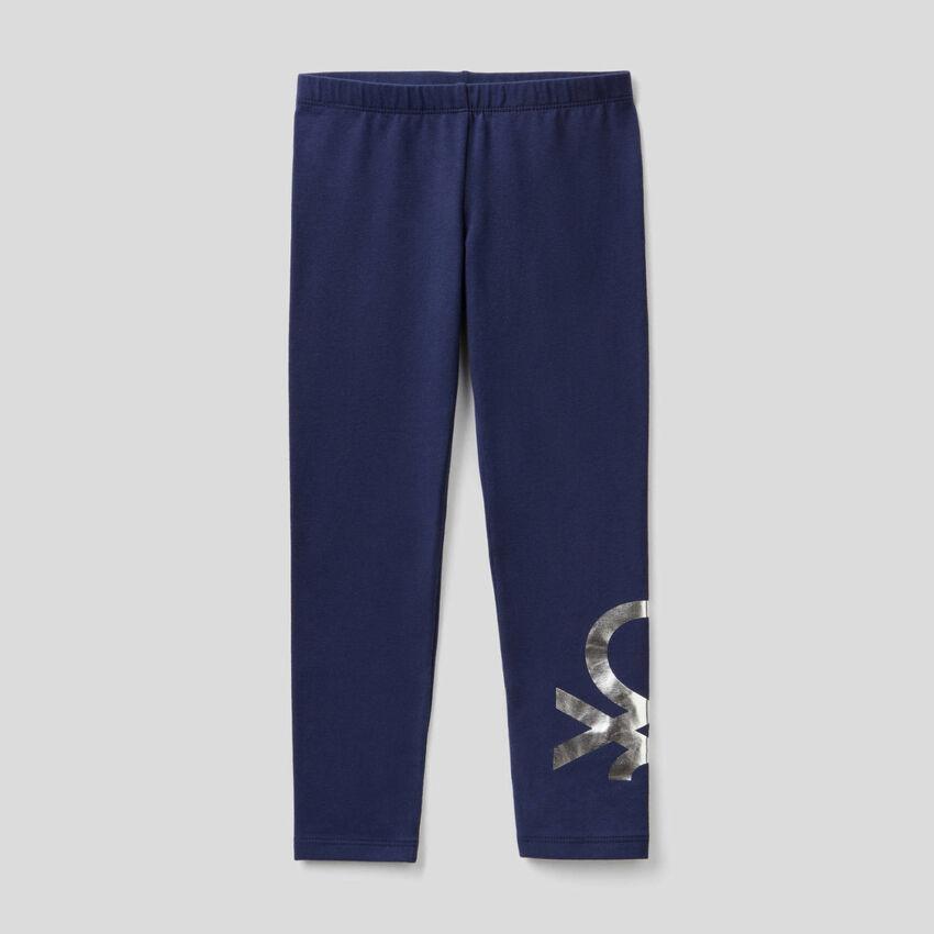 Leggings azul-escuro em algodão stretch